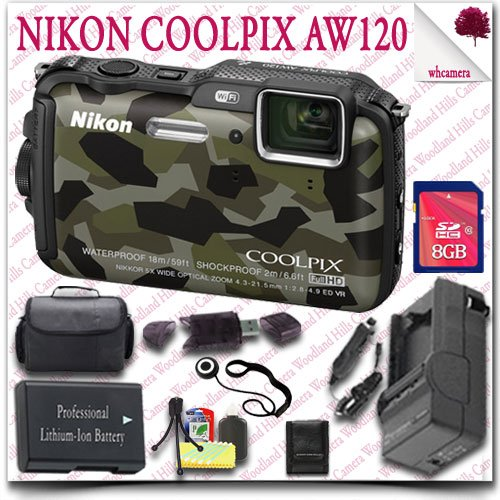 Nikon Coolpix Aw120 Wifi Waterproof Gps Digital Camera (Camo) + 8Gb Sdhc Card + Slr Gadget Bag 11Pc Nikon Saver Bundle