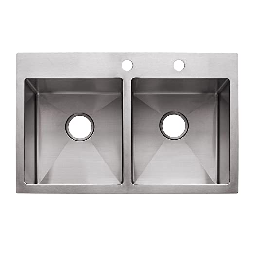 "Franke USA HF3322-2 9"" Deep Stainless Steel Double Bowl Dual Mount Kitchen Sink, 18 g"