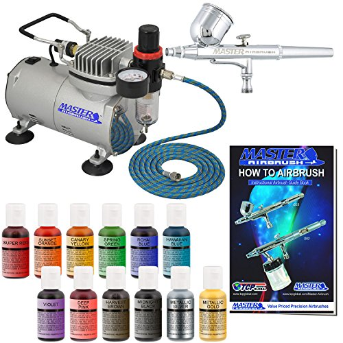 Master Airbrush Cake Decorating Kit with 12 .7 fl oz Chefmaster Airbrush Colors, and Air Compressor (Airbrushing Machine compare prices)