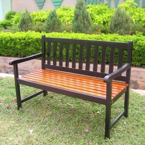 Acacia Patio Wood Garden Bench Finish: Black and Oak