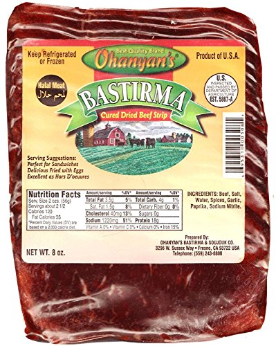 Ohanyan's Fatty Cured Beef 8oz (Sliced Basterma - Pastirma) (Italian Bresaola compare prices)