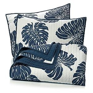 Amazon.com - India Hicks Palm Fronds 100% Cotton 3-Piece Quilt Set
