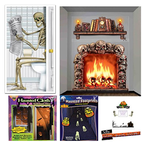 Haunted House Decoration Kit Halloween Set Skeleton Door Skull Fireplace Mantle Wall Props Glow in the Dark Footprints Haunted Creepy Cloth Warning Tape Bonus Idea Guide Bundle (20 pieces) (Mantle Covers For Fireplaces compare prices)