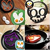 KARP™ Combo Pack Of 4 Silicon Egg Ring Mold, BPA Free, FDA Approved, 100% Food Grade Silicone ,Skull, Rabbit,...
