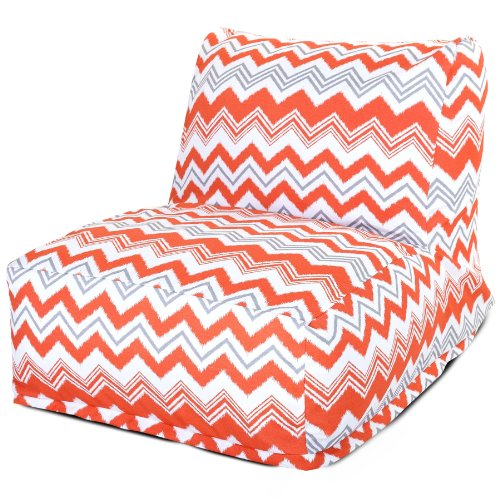 Majestic Home Goods Zazzle Bean Bag Chair Lounger, Orange front-310381