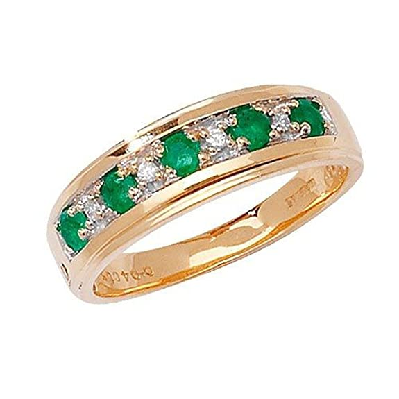 9ct Yellow Gold Emerald & 4pt Diamond Eternity Ring *RD275E