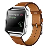OVERMAL Luxury Genuine Leather Watch Band Wrist Strap for Fitbit Blaze Smart Watch (Brown) (Color: Brown, Tamaño: free size)