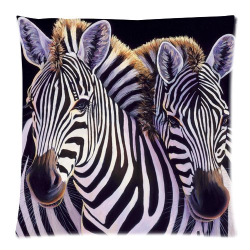 Generic Custom Couple Zebras Lovers Printed Zippered Pillowcase Cushion Case 18*18(One Side) front-1013589