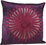 Shahenaz Home Shop Amodini Floral Patch Poly Dupion Cushion Cover - Purple and Pink