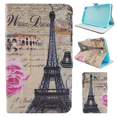 Galaxy tab 3 7.0 T210 case,UUcovers Stand Wallet Case [Money/Card Slots ] Cover for Samsung Galaxy Tab 3 7.0 T210/T217/P3200/P3210 (Pink Tower)