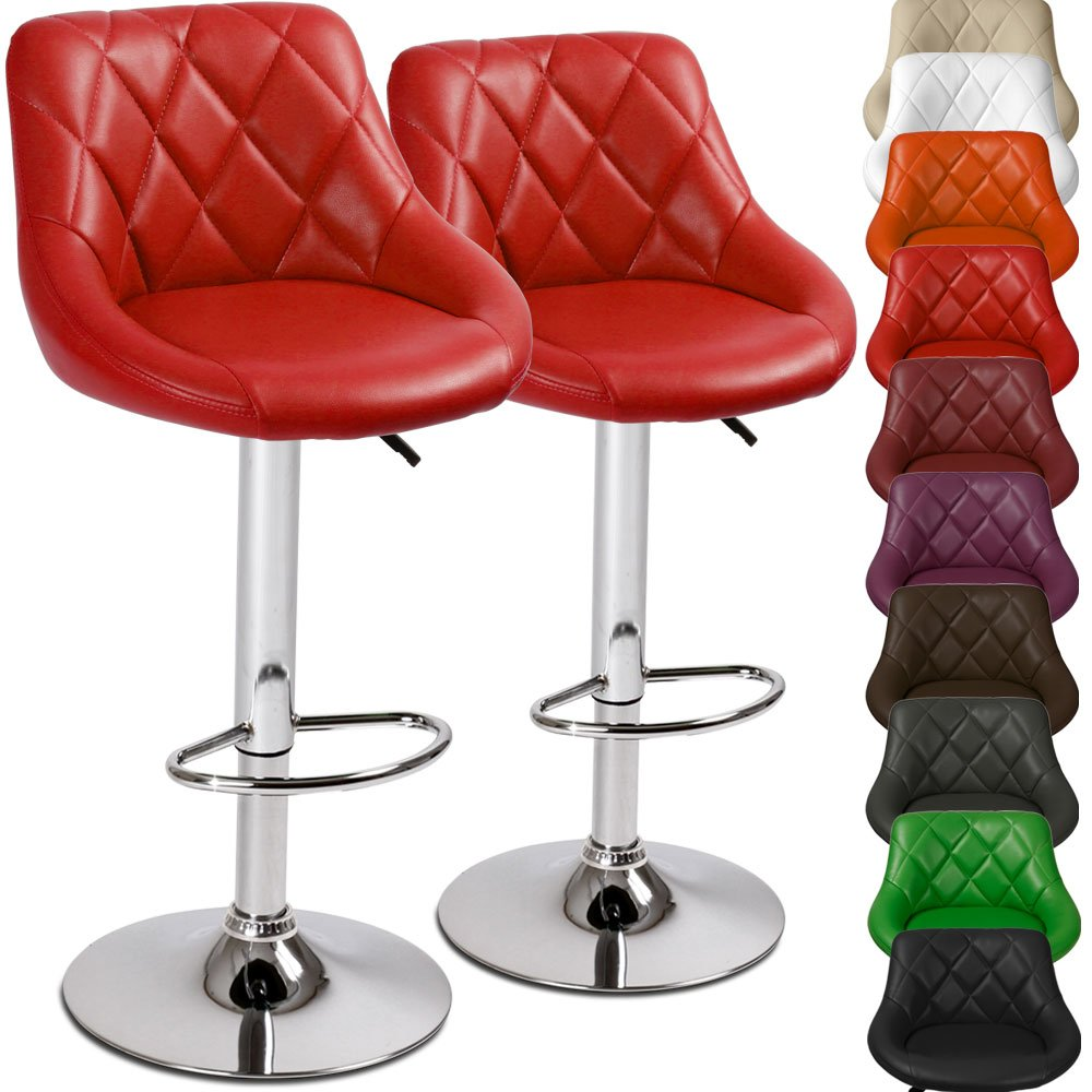 Ensemble de 2 tabourets de bar rouge en chrome et cuir - Amazon tabouret de bar ...