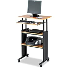 Safco 1929MO Adjustable Height Stand-Up Workstation, 29w x 19-3/4d x 49h, Oak PVC Top