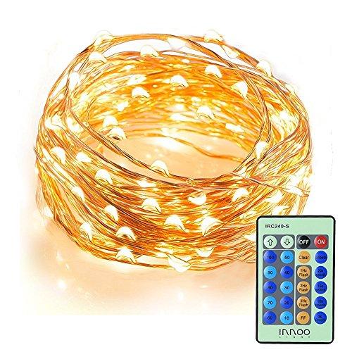 LED-Lichterkette-InnooLight-10M-100er-LED-Kupferdraht-Lichterketten-10-Helligkeitsstufen-mit-Fernbedienung-Warmwei-Wasserdichte-Auen-Sternen-Beleuchtung-fr-Garten-Wohnungen-Tanzen-Weihnachtsfeier-Magi