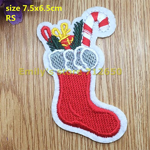 [FairyMotion New Arrival 10 Pcs Christmas Boots Embroidered Patches Iron On Cartoon Motif Applique Rs Fabric Cloth Embroidery Accessory Perfect] (Costumes National Combat Boot)