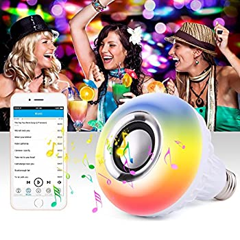 PROLIGHT Led Bluetooth Speaker Light Bulb-Music Light Bulb, E27 Wireless Smart Dimmable Bluetooth Control Built-in Audio Speaker LED RGB White Color Light for Home, Stage,Party Decoration