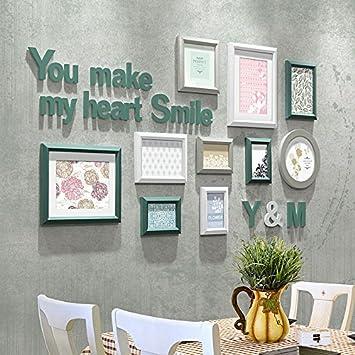 Marco de fotos HJKY establecer simples de madera moderna, originalidad, fotografía, pared de comedor, sala de estar, dormitorio, Lime Green pequeño conjunto