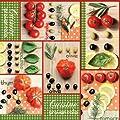 Wachstuch Breite 140 cm Länge wählbar - 140x100 cm DHT9031 Grün Rot Cuisine Provencale Tomaten Bunt - Eckig abwaschbare Tischdecke Wachstücher Gartentischdecke von DHT-WT140cm auf Gartenmöbel von Du und Dein Garten