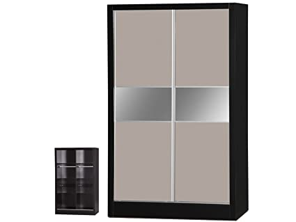 Alpha Luxe Stone Grey High Gloss and Black 2 Door Sliding Wardrobe, Wood, Multi-Colour