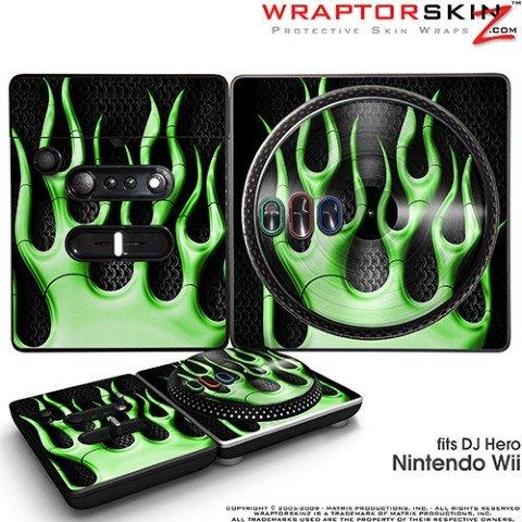 DJ Hero Skin Metal Flames Green fits Nintendo Wii DJ Heros (DJ HERO NOT INCLUDED)
