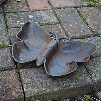 We are proud to present the Deep Antique Finish Cast Iron Butterfly Bird Bath / Feeder Garden Accessory