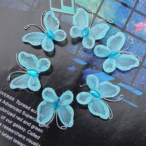 Lot de 100fil en maille Chaussette Papillons Décoration de mariage bleu