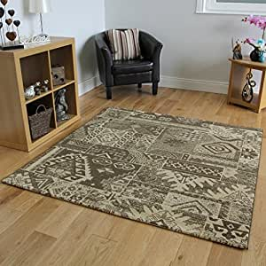 Soft thick brown luxury patchwork living room rugs for Living room rugs amazon