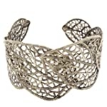 Women Bronze Hollow Leaf Open Cuff Ba...