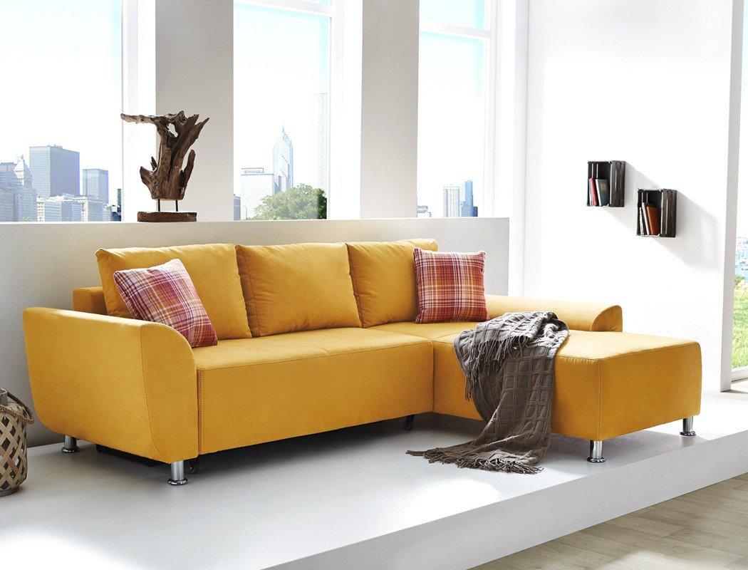 Wohnlandschaft Livia 246×180 Mikrofaser gelb senffarben Funktionssofa Couch Sofa Wohnzimmer Polsterecke Ottomane online bestellen