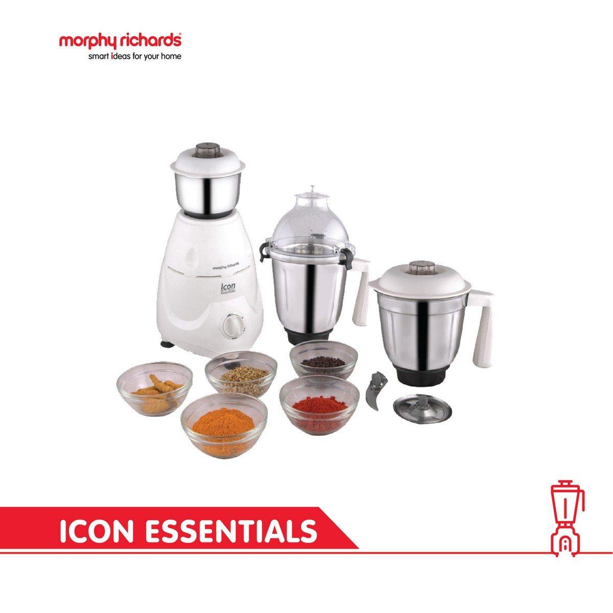 Essential Kitchen Appliances Buy Morphy Richards Icon Essentials 600 Watt Mixer Grinder White