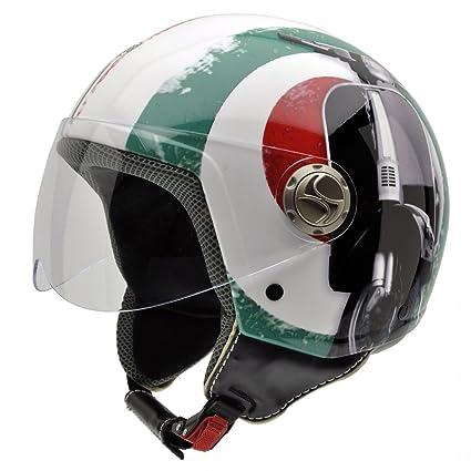 NZI 490004G341 3D Vintage II Supercinquantotto Casque de Moto, Rouge/Blanc/Vert/Mix Drapeau Italien/Détail du Moto, Taille : XS