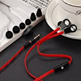 Universal 3.5 Mm Jack Plug Earbud Headphones with Mic with Customized Fit Asus Memo Pad Hd7 Come with Three Separate Sizes of Silicone Eartips (Small Medium and Large) and Triple Flange to Help You Get the Silicone Ear Tips and Perfect Fit to Go with Your Sound. (red)