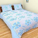 Azaan Décor 120 TC Cotton Double Bedsheet with 2 Pillow Covers - Blue