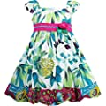 Girls Dress Flower Traditional Chinese Painting Style Green Size 4-8 New