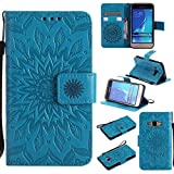 Galaxy J1 2016 Case, UNEXTATI Leather Case Flip Wallet Case with Card Slot & Kickstand for Samsung Galaxy J1 2016, Anti-Scratch Protective Cover (#6 Blue)