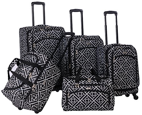 american-flyer-astor-5-piece-spinner-luggage-set-black-white-one-size