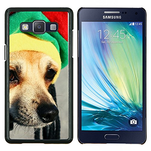 Rasta Mütze Dog Chihuahua Muzzle Schnauze - Aluminum & Hartplastik Telefonkasten - Schwarz - Samsung Galaxy A5 / SM-A500