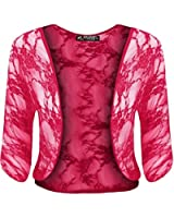 Womens Ladies Floral Rose Lace Batwing 3/4 Short Sleeve Open Front Bolero Cropped Shrug Top Plus Size