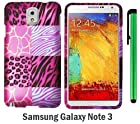 Pink Exotic Skins : Leopard & Zebra & Block Premium Pretty Design Protector Hard Cover Case For Samsung Galaxy Note 3 / Note III + 1 of New Metal Stylus Touch Screen Pen