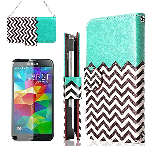 Mylife (Tm) Sea Foam Blue, Black And White - Cheveron Design - Koskin Faux Leather (Card, Cash And Id Holder + Magnetic Detachable Closing + Hand Strap) Slim Wallet For New Galaxy S5 (5G) Smartphone By Samsung (External Rugged Synthetic Leather With Magne