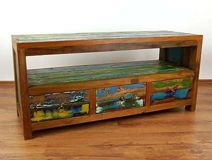 Java Sideboard aus recyceltem Teakholz | TV-Bank aus buntem Massivholz | Phonoschrank | HiFi-Möbel der Marke Asia Wohnstudio (Handarbeit)
