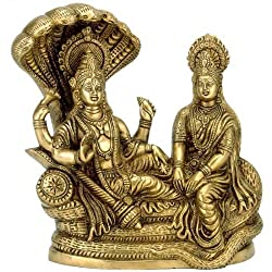 Redbag Lord Vishnu with Lakshmi Rest Upon Shesha Naag - Brass Statue