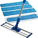 """Zflow 18"""" Professional Microfiber Wet and Dry Mop - Premium Stainless Steel Handle With Microfiber Dust Pad + 3 Microfiber Wet Pads (18"""", Blue)"""