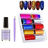 Nail Foil Sticker with Nail Glue&Manicure Stick, 10 Colors Starry Sky Stars Nail Art Stickers Tips Wraps Decals with Gold, Red, Blue, Silver Colorful Holographic Transfer(1.57 inch × 47.24 inch) (Color: Sky_1)
