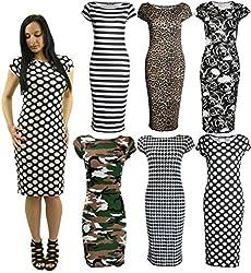 Womens Cap Sleeve Polka Dot Bodycon Stretch Jersey Midi Dress Plus Size 8-22