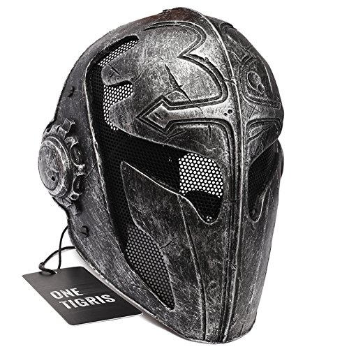 OneTigris Tactical Full Face Protection Game Mask Knight Mask Templar for Men (Black) (Mens Templar Knight Costume)