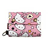 Korean Japanese Style Canvas Youth Wallet Cartoon Credit Card Photo Bill Key Holder (Pink Hello Kitty) (Color: Pink Hello Kitty, Tamaño: Medium)