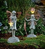 Flower Fairy Garden Statue With Solar Lantern image