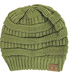 Black Thick Slouchy Knit Oversized Beanie Cap Hat,One Size,Olive
