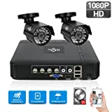 HisEEu 1080P Security Camera System 2 Camera 4 Channel DVR AHD Surveillance Camera System 2pcs HD 1080P waterproof Night vision Indoor/Outdoor Home Security Cameras Including 1TB Hard Disk (Color: 2pcs 1080P Cams+4CH DVR(1TB HDD Pre-installed))