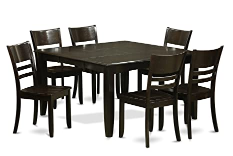 East West Furniture PFLY7-CAP-W 7-Piece Dining Table Set, Cappuccino Finish
